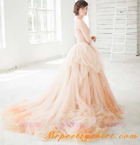 Champagne Long Train Bridal Skirt Wedding Skirt