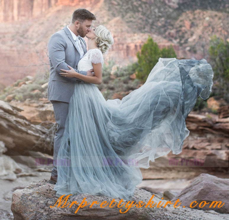 Grey Long Train Bridal Skirt Wedding Party Skirts