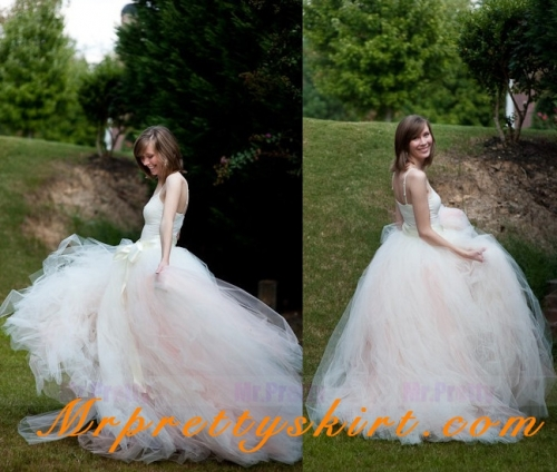 Blush Pink Tulle Full Length Bridal Skirt