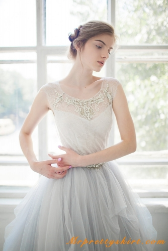 Grey Tulle Lace Beaded Top Skirt Top
