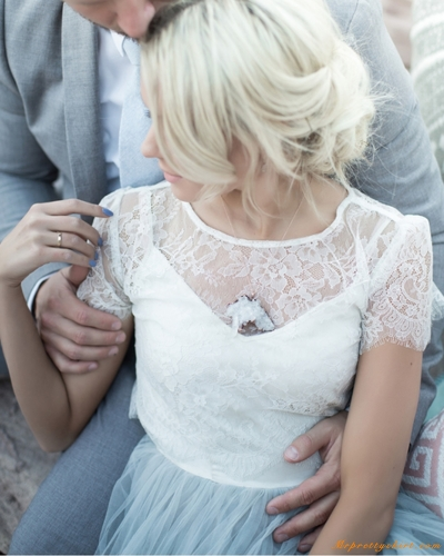 Ivory Lace Wedding Top Short Sleeve Top