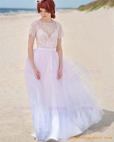 Ivory Dyed Tulle Skirt