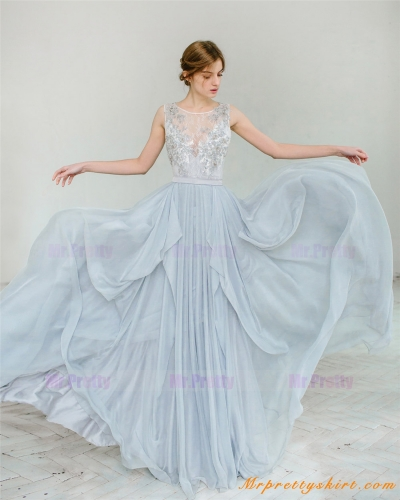 Light Grey Chiffon Skirt Bridal Skirt Wedding Skirt
