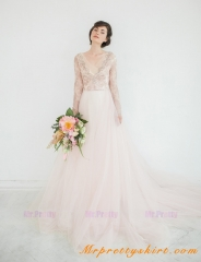 Blush Pink Tulle Bridal Dress