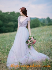 Lavender Tulle Bridal Dress