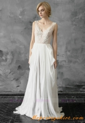 Ivory Lace V Neck Chiffon Bridal Dress