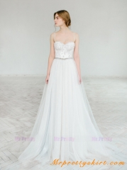 Ivory Lace Light Grey Tulle Bridal Dress