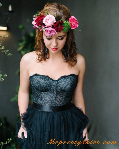 Black Lace Wedding Corset Women Top
