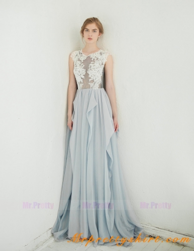 Light Grey Chiffon Bridal Dress Wedding Gown