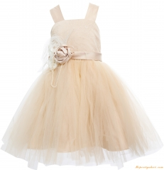 Ivory Lace Tulle Girls Wedding Party Dress
