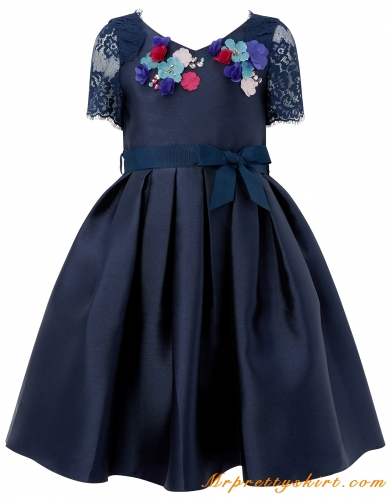 Navy Satin Lace Flower Girl Dress