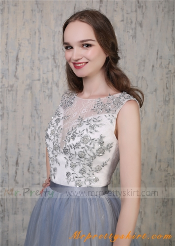 Grey Iovry  Lace Beaded Tulle Corset Wedding Top