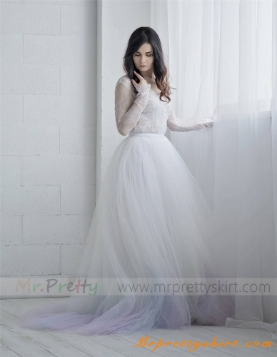 Dyed Tulle Full Length Wedding Skirt Party Skirt