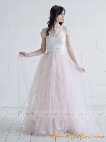 Blush Tulle Full Length Wedding Skirt Party Skirt