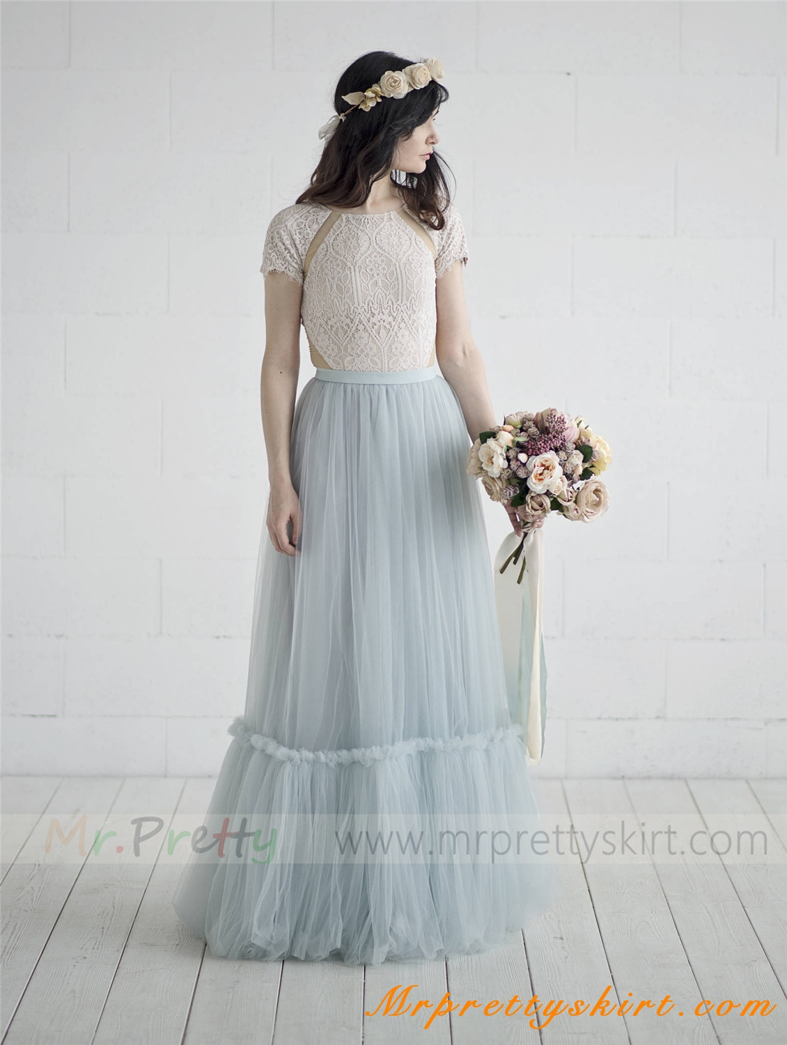 grey blue long train bridal skirt wedding party skirts