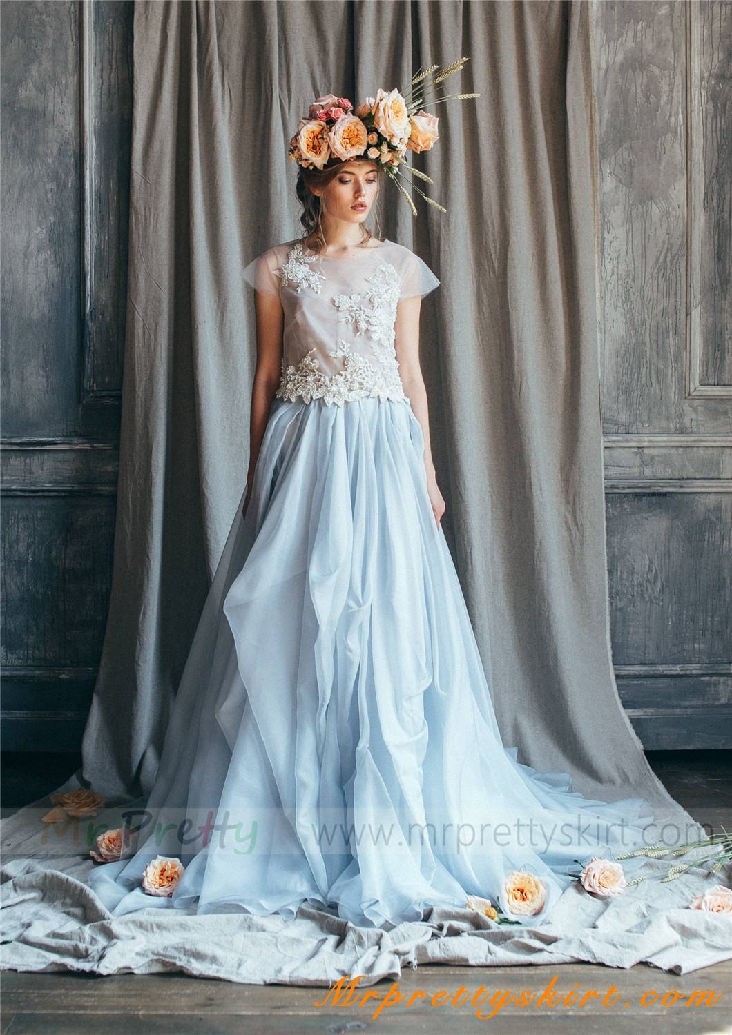 light blue chiffon skirt Bridal Skirt
