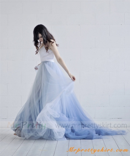 Short Train Tulle Wedding Skirt Party Skirt