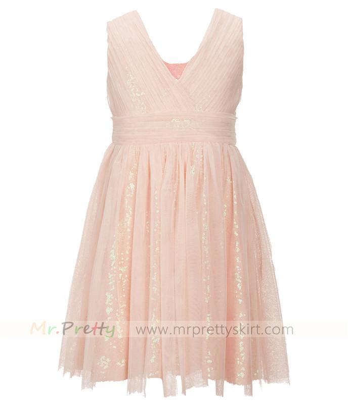 Blush sequin tulle flower girls dress blush sequin tulle flower girls dress mightylinksfo