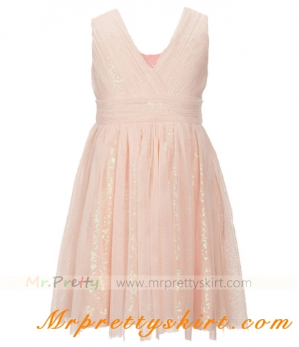 Blush Sequin Tulle Flower Girls Dress
