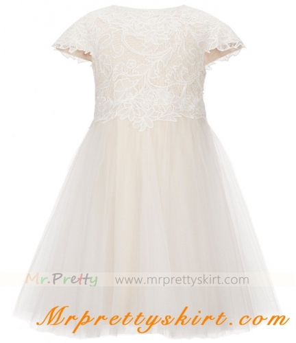 Light Champagne Tulle Flower Girls Dress