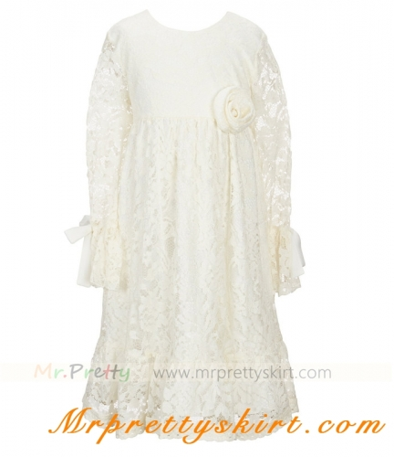 long Sleeve Cream Flower Girls Dress