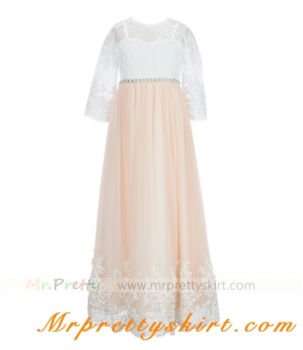 Long Sleeve Lace Junior Bridesmaid Dress