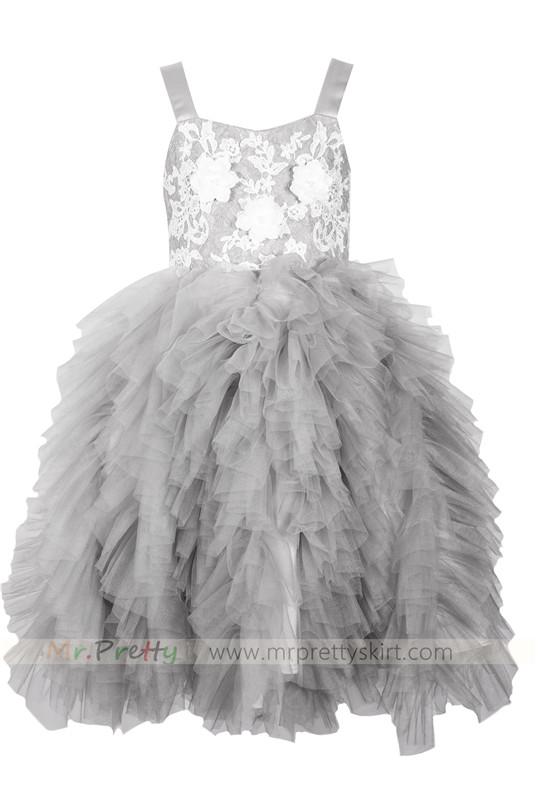 Grey lace tulle flower girl dress light grey flower girl dress holiday dress mightylinksfo