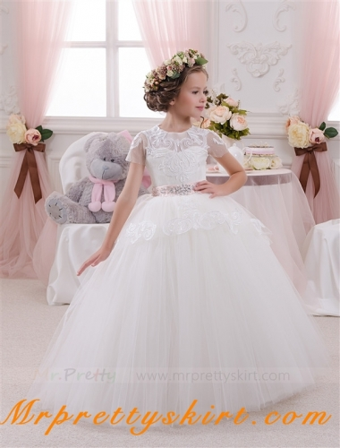 Ivory Lace Tulle Flower Girl Dress Pageant Dress
