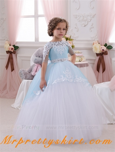 Ivory Lace BlueTulle Tutu Flower Girl Dress Pageant Dress