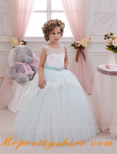 Mint Tulle Flower Girl Dress Pageant Dress