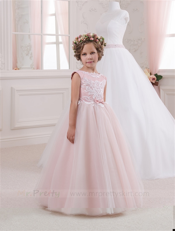 Ivory Lace Blush PInk Tulle Flower Girl Dress Pageant Dress