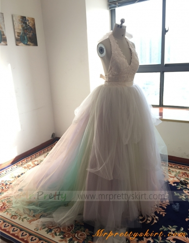 Rainbow Color Long Train Wedding Skirt Bridal Skirt
