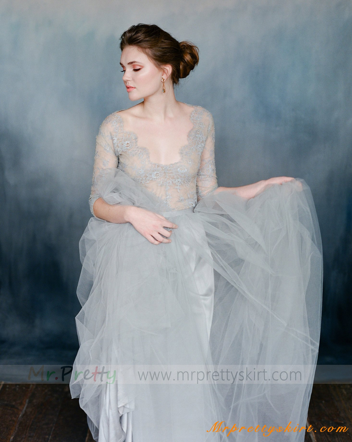 grey short train tulle skirt bridal skirts