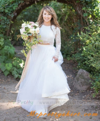 White Tulle Full Wedding Skirt Bridal Skirt 2 Pieces Top