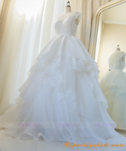 Ivory Short Train Organza Wedding Skirt Bridal Skirt