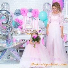 Pink Mother and Kids Wedding Party Dress  Parenting Suit