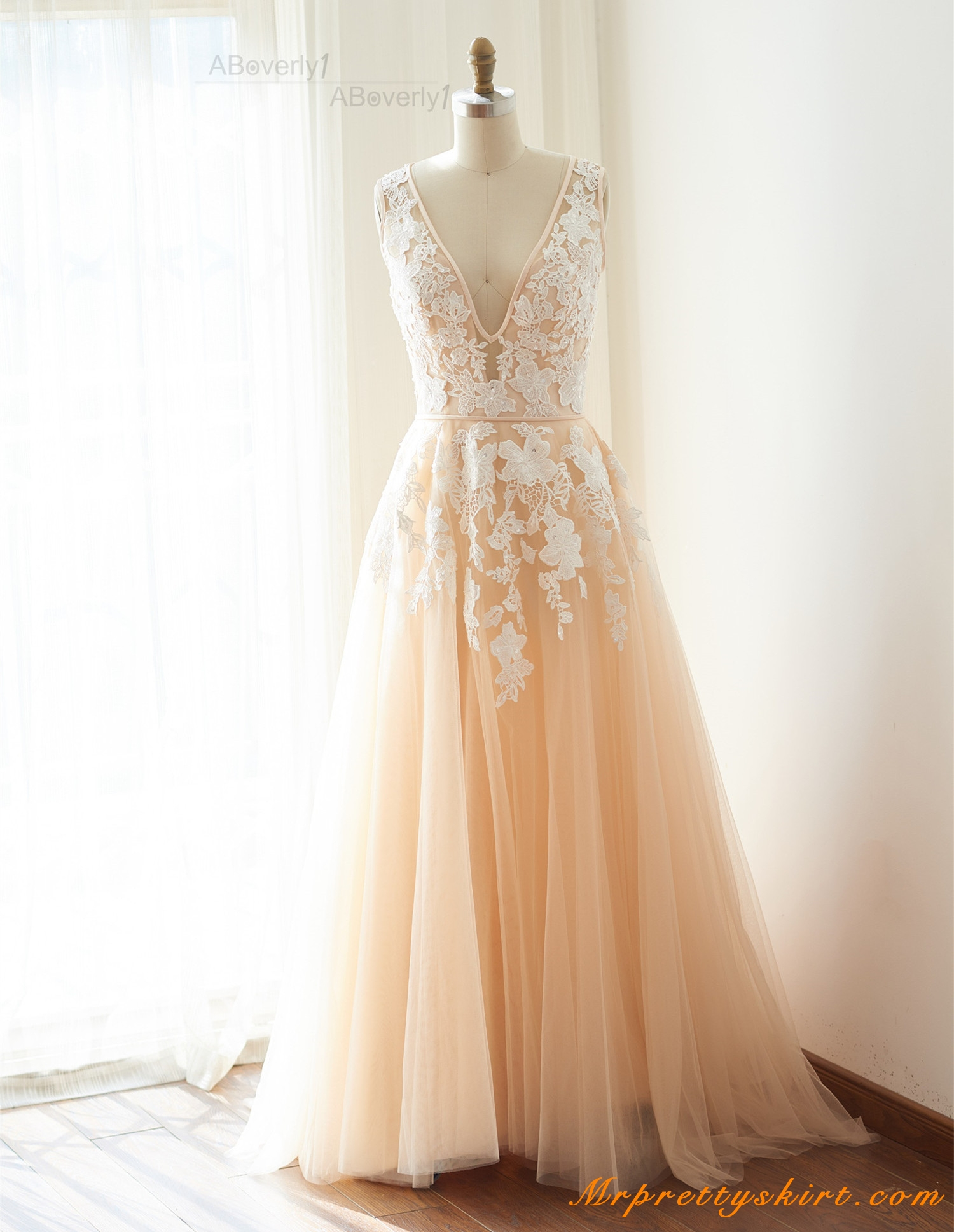 champagne lace tulle short train wedding gown bridal dress