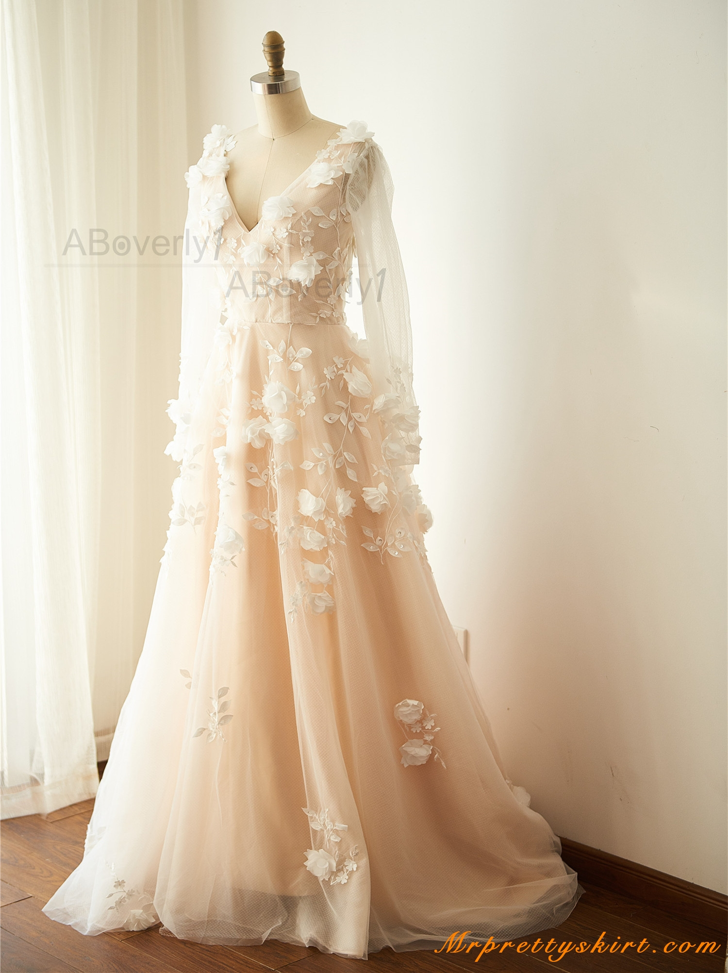 champagne lace tulle flowery wedding gown bridal dress